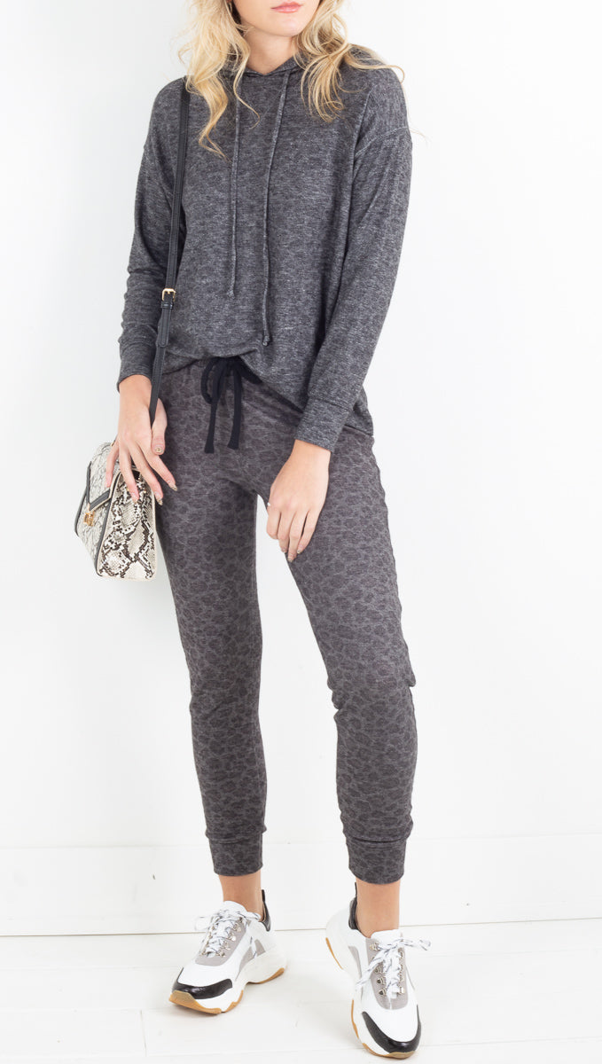 Brushed Leopard Pant - Charcoal Leopard