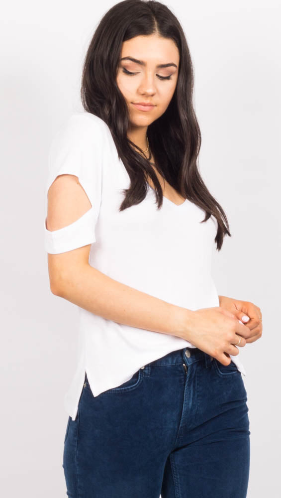White Short Sleeve Top with sleeve cutouts