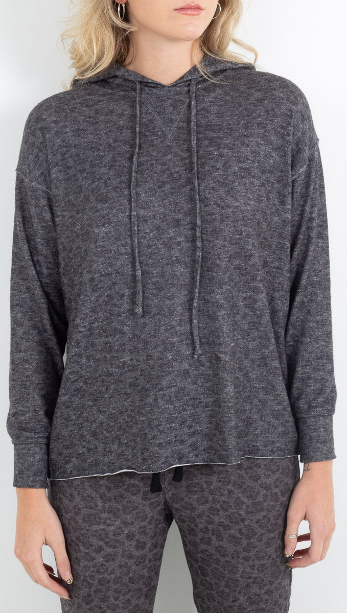 Brushed Leopard Oversized Hoodie - Charcoal Leopard
