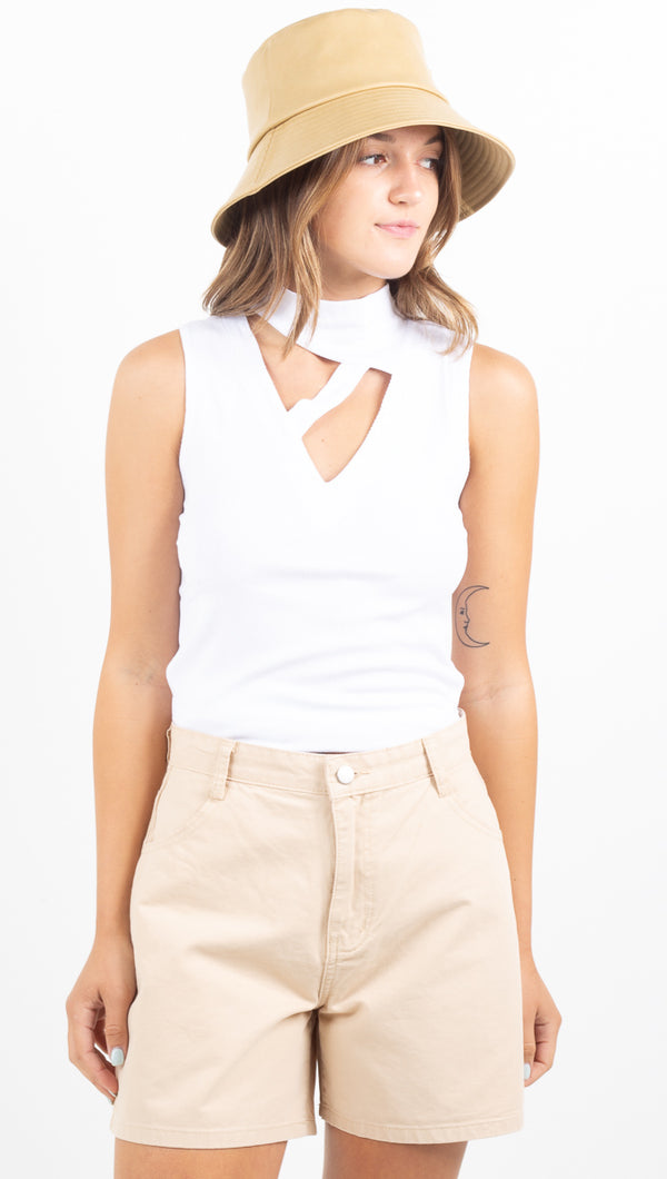 Thea Rib Top - White 2X1 Rib