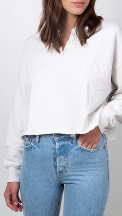 LNA Off White Cotton Terry Crop Sweatshirts With Button Closures