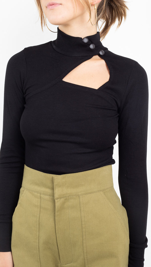 Lenny Long Sleeve Rib Top - Black 2X1 Rib