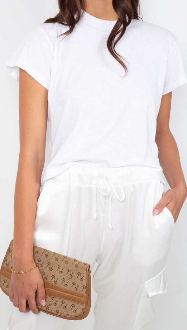 LNA White Mock Neck Tee
