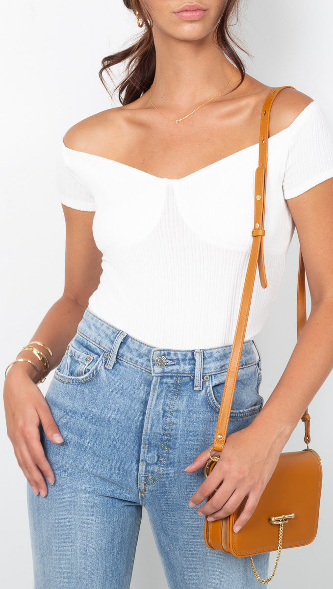 LNA Ivory Ribbed Off The Shoulder Fitted Top