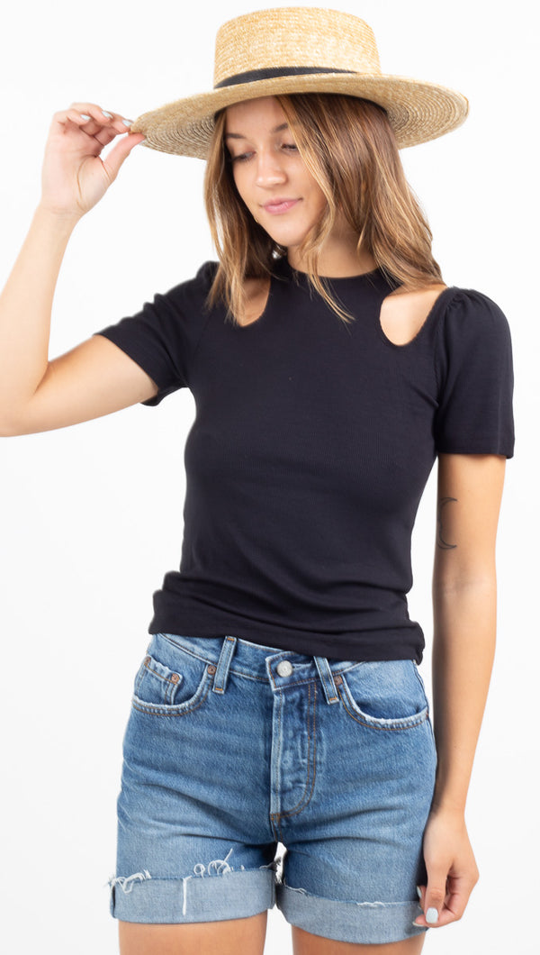 Tilda Rib Cutout Top - Black 2X1 Rib