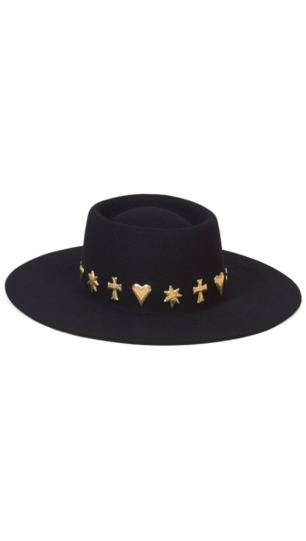 Lack Of Color Black with Gold Celestial Trim Boater Hat
