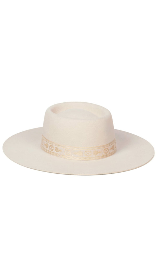 Lack Of Color Cream Embroidered Trim Boater Hat