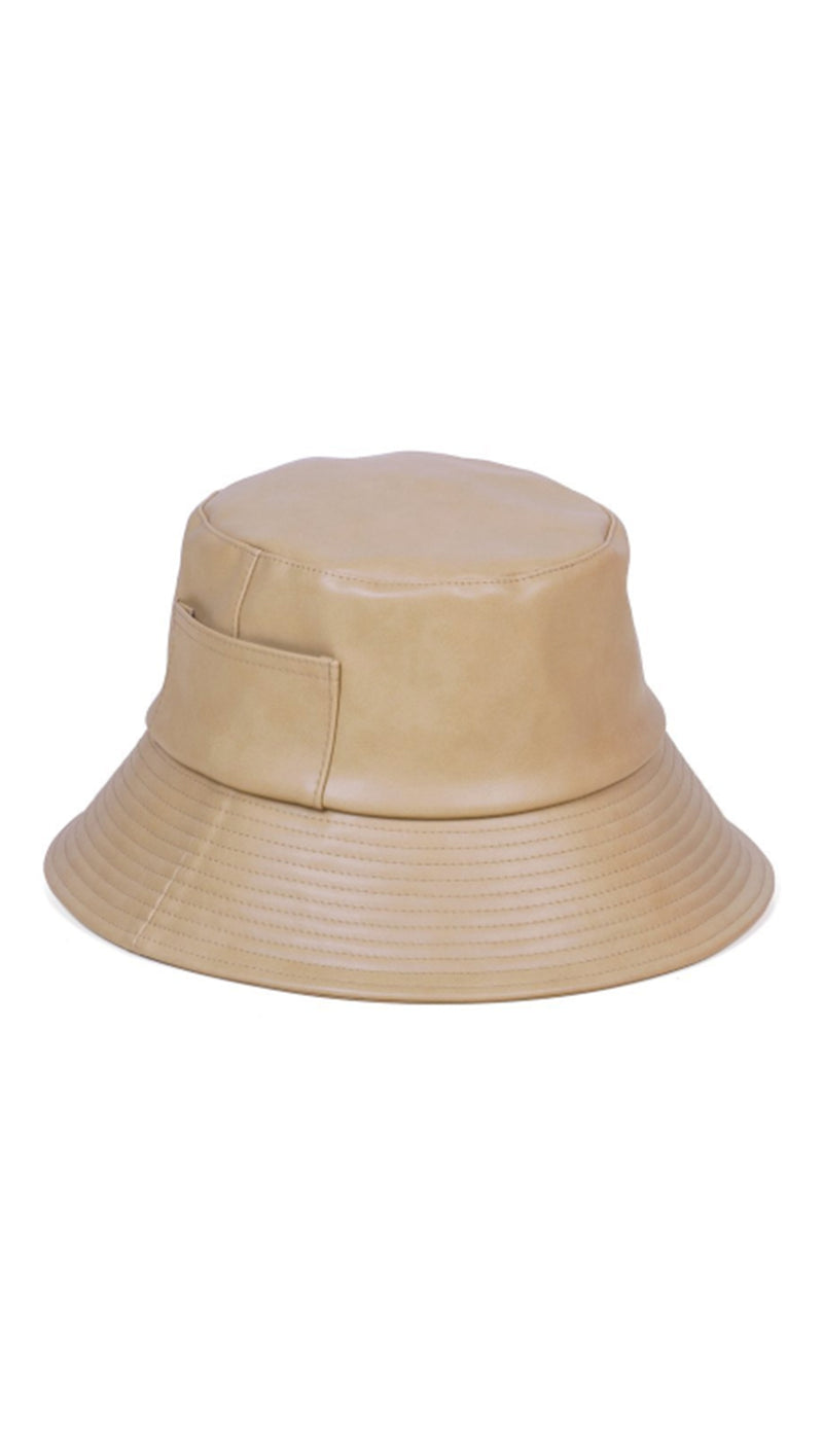 Lack of Color Faux Leather Tan Bucket Hat