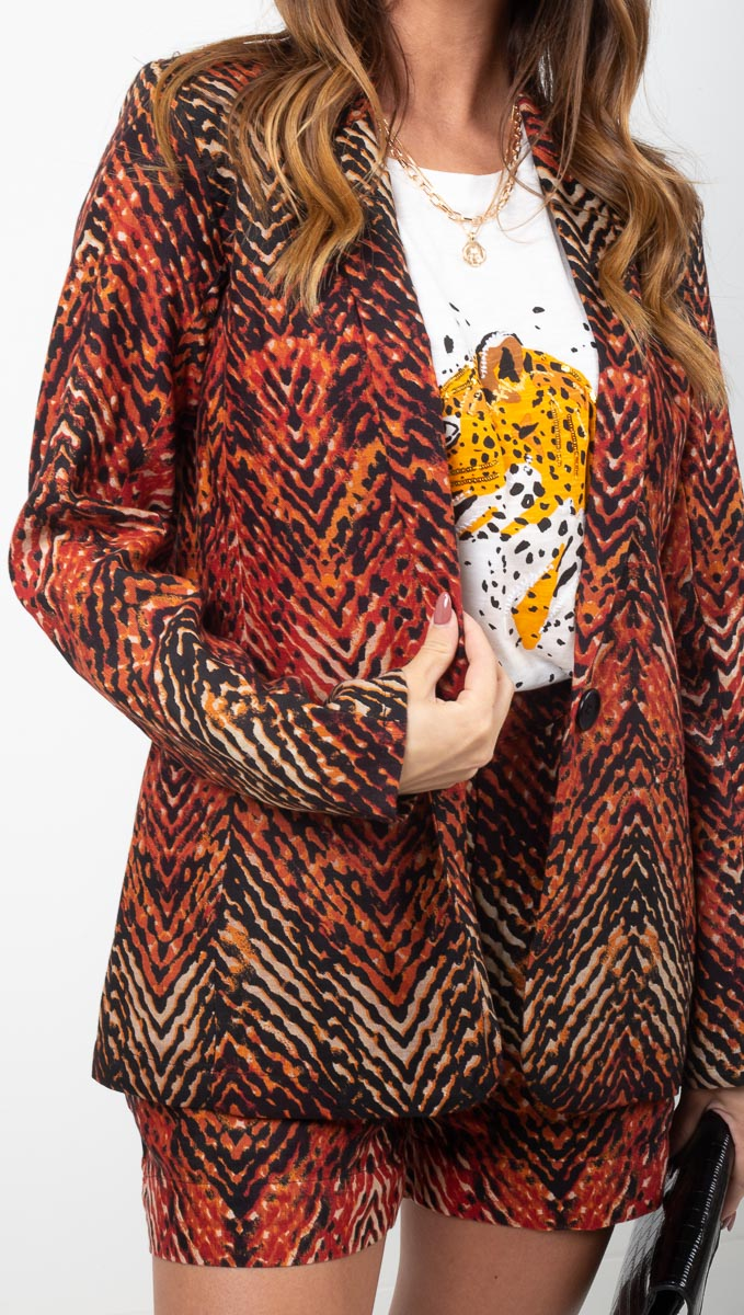 MKT Red Printed Blazer