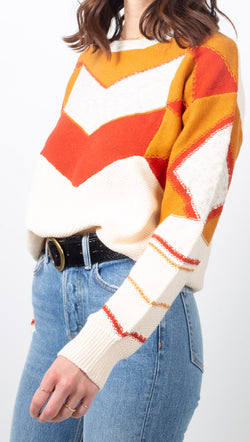 MKT White, Orange, and Red Color Block Sweater