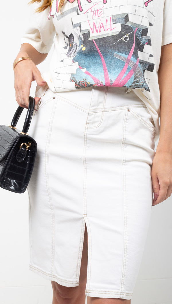 MKT Off White High Rise Pencil Skirt