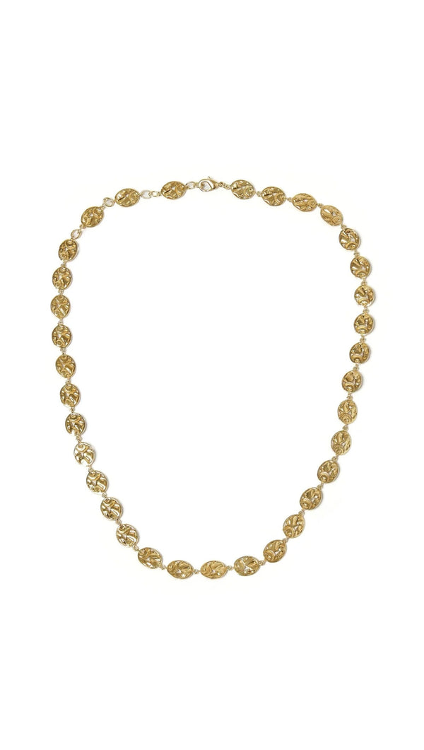 gold necklace with designs