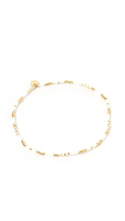 Gold and whited beaded anklet