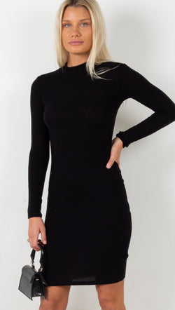 Mock Neck Midi Dress - Black