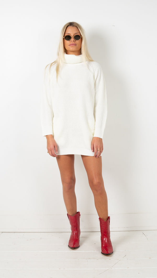Kristin Turtleneck Sweater Dress - Cream