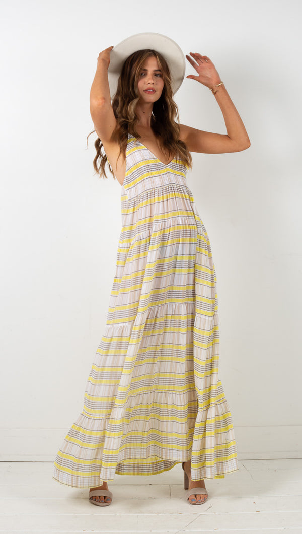 Tiered Plunge Dress - Renaissance Lemon