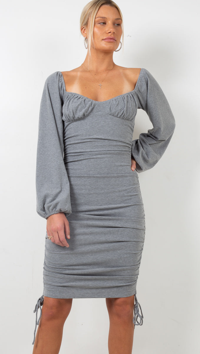 Jessica Ribbed Ruched Midi Dress - Grey