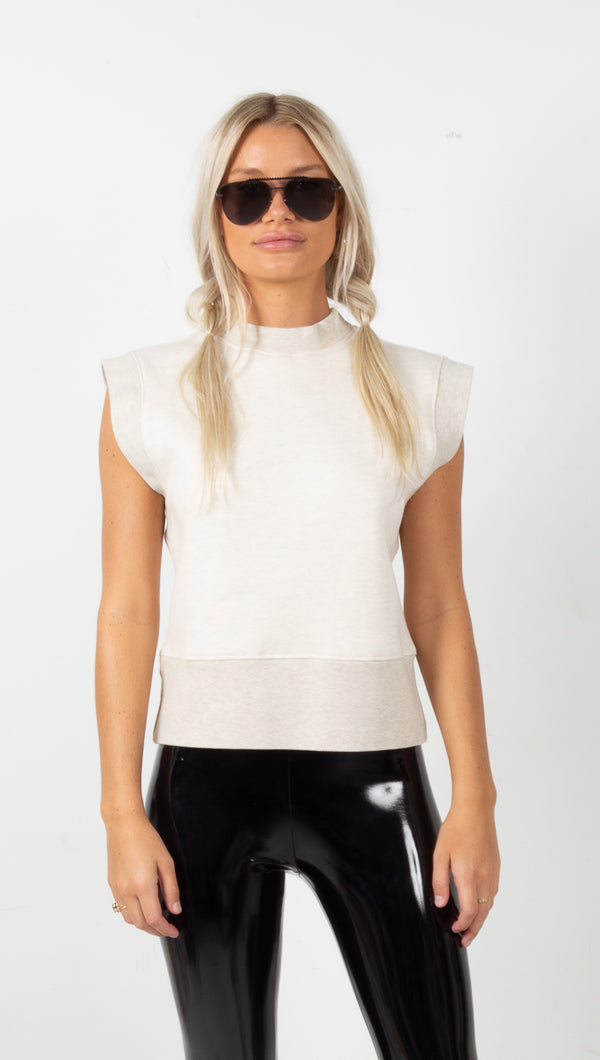 AGOLDE Simone Sleeveless Sweatshirt in Oatmeal Heather