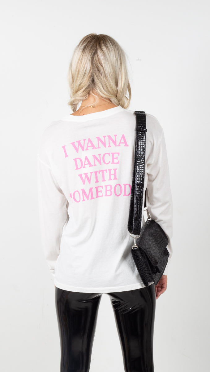 Whitney Houston Dance With Somebody Long Sleeve - Vintage White
