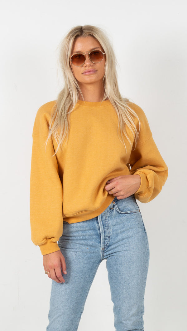 agolde balloon sleeve sweatshirt in turmeric heather