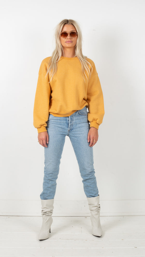 Balloon Sleeve Sweatshirt - Turmeric Heather