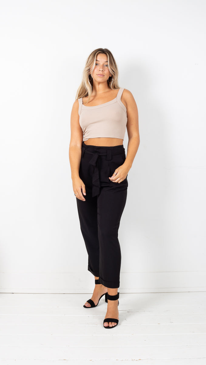Carrie Paperbag Pants - Black