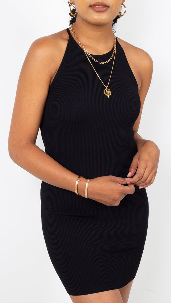 stpl Slinky Black Ribbed High Neck Bodycon Mini Dress