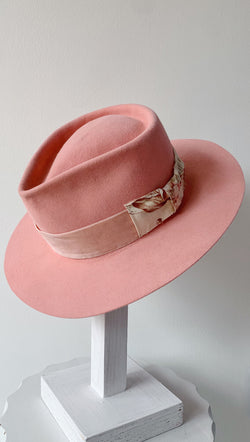 Teressa Foglia Pink Handmade Felt Hat With Velvet Ribbon and Floral Bow