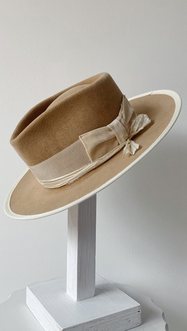Teressa Foglia Handmade Tan Felt Hat With Ribbon Band and Velvet Bow