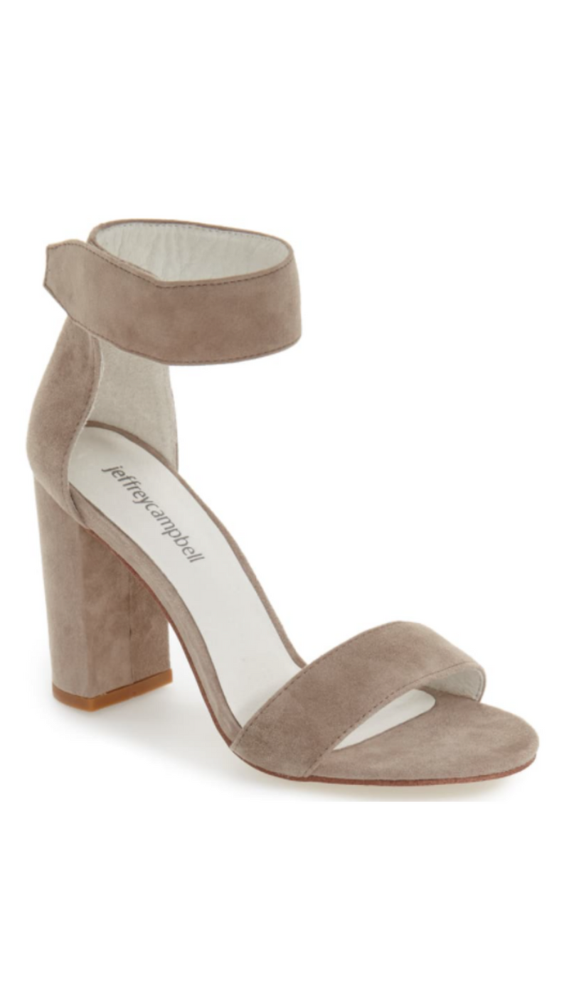 Jeffrey Campbell Taupe Suede Simple Strap Heels