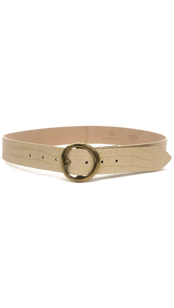 B-Low The Belt Ivory Leather Crocodile Print Belt