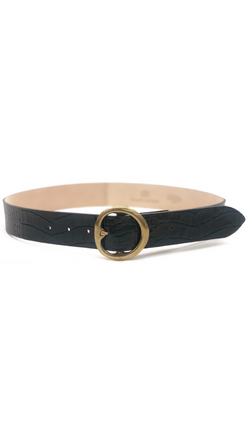 B-Low The Belt Black Leather Crocodile Print Belt