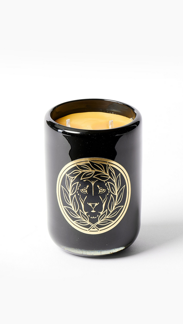 Leone 9 Ounce Beeswax Candle With Glass Jar and Gold Lion Graphic