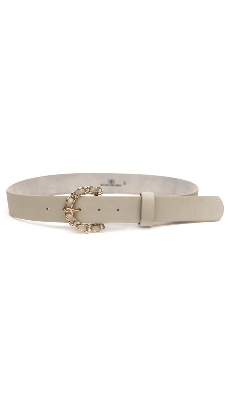 B-Low The Belt Nude Leather Belt With Gold Chain Buckle