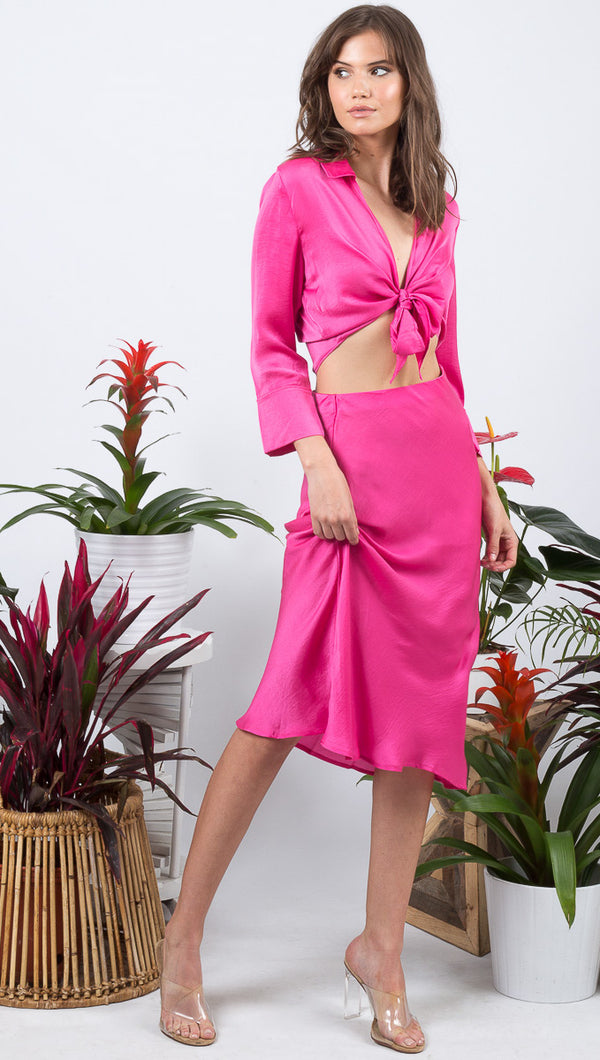 VDV The Label Silk Hot Pink Midi Skirt
