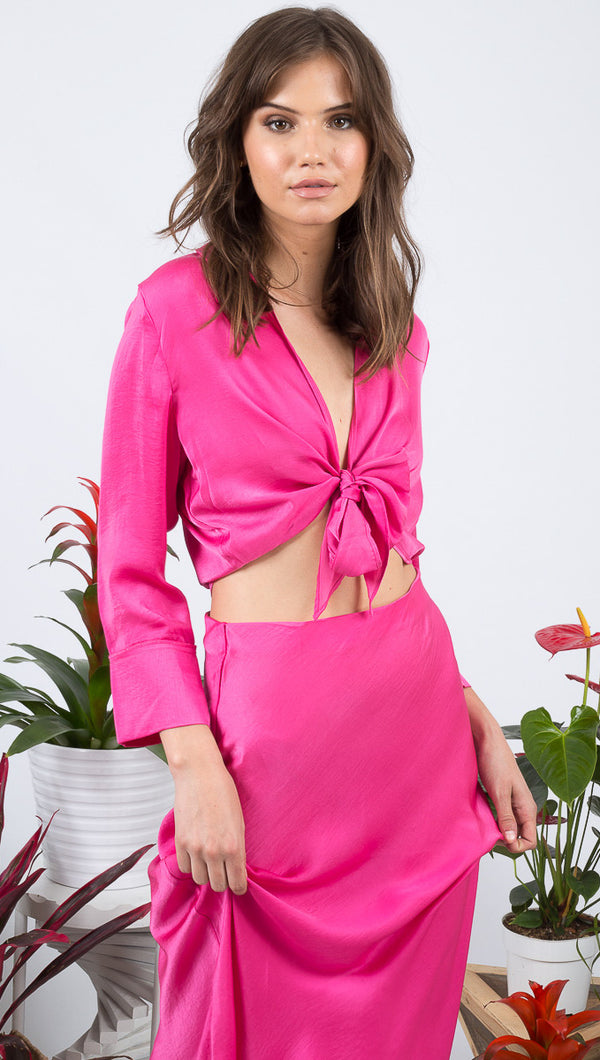 VDV The Label Hot Pink Silk Tie Top