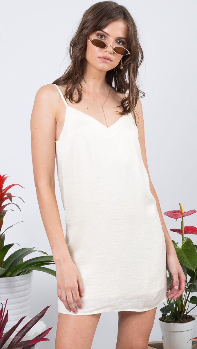 VDV The Label Silk Cream White Slip Dress