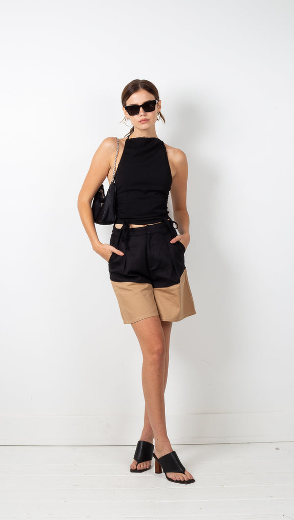 Pip Shorts - Black/Nude