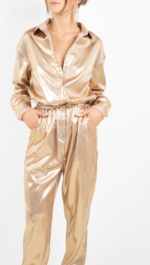 By Abigail Love metallic gold long sleeve jumpsuit