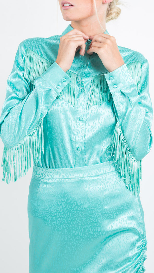 By Abigail Love florescent blue button down blouse with tassel details