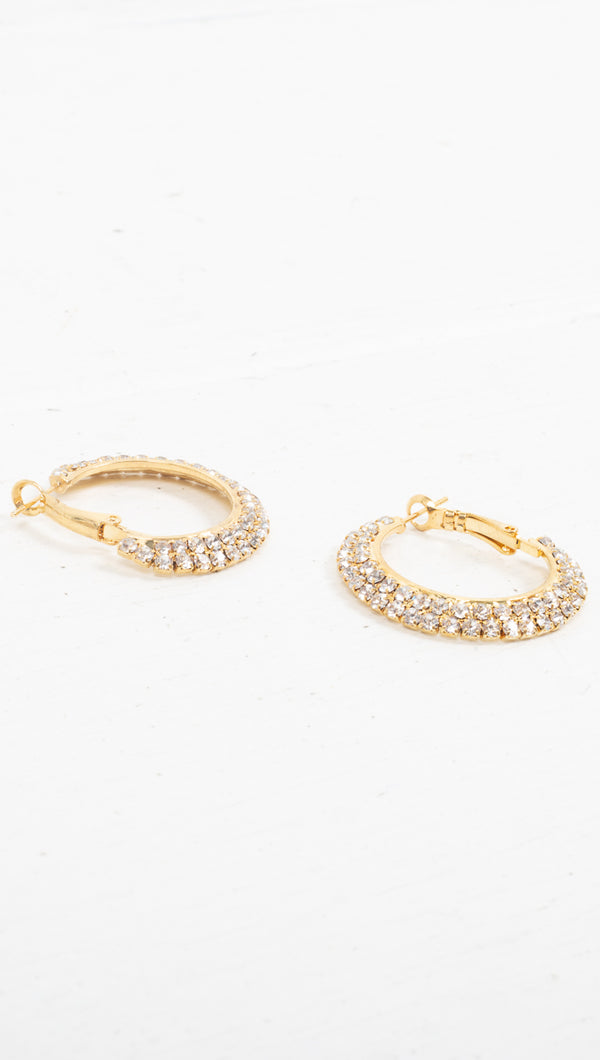 Pave Statement Hoops - Gold
