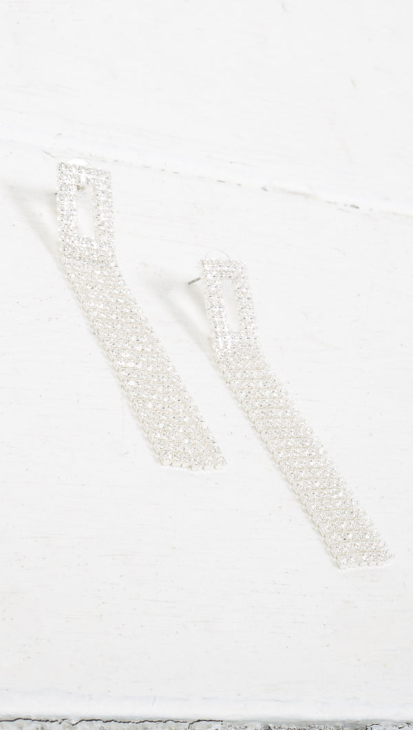 Rectangle Crystal Dangling Earrings - Silver