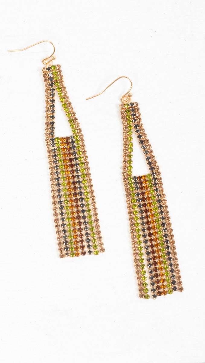 Rainbow Crystal Statement Earrings - Gold