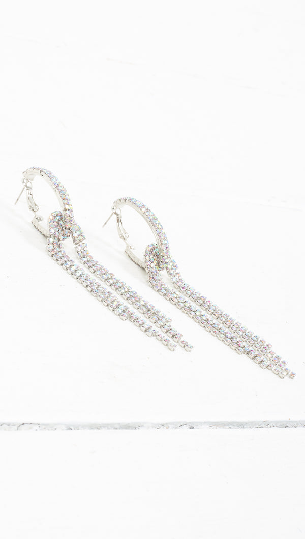 Jazelle Crystal Statement Earrings - Silver
