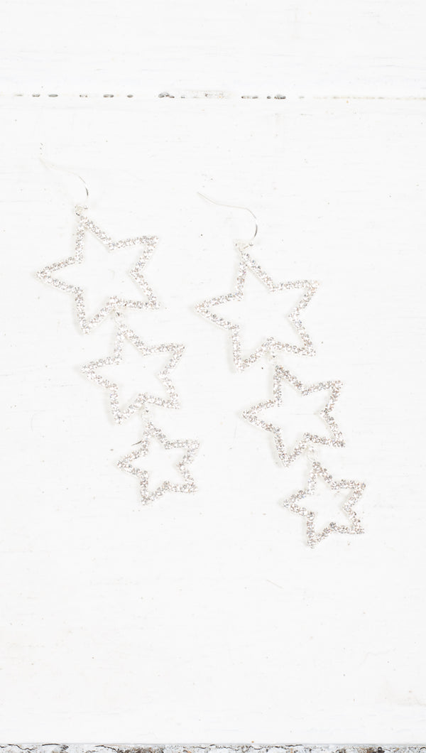 Starlight Drop Earrings - Silver/Crystal