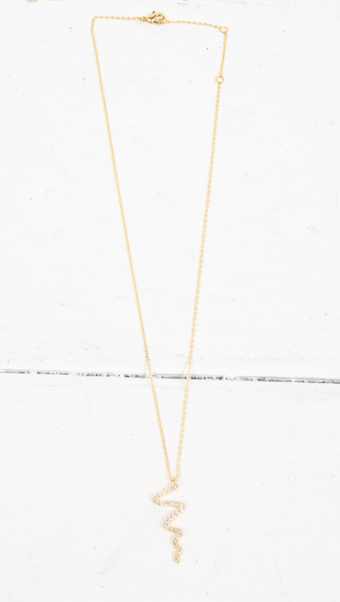 Crystal Snake Necklace - Gold
