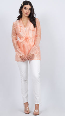 Aeryne Pink Transparent Suit Jacket With Waist Tie
