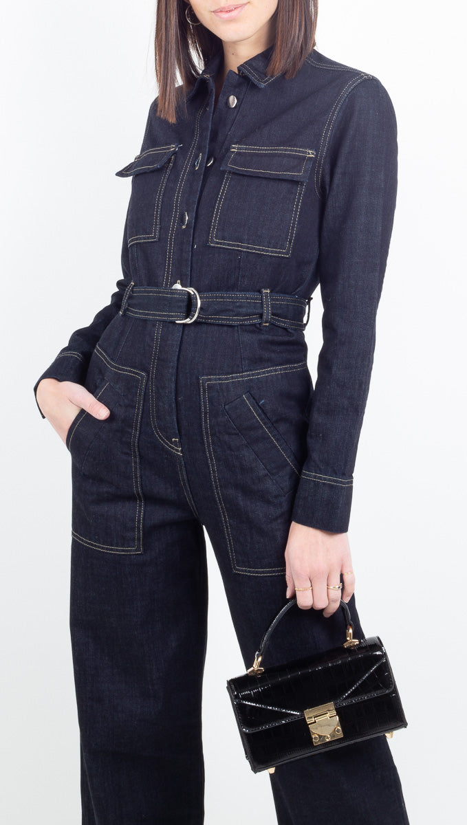 Aeryne dark wash denim long sleeve jumpsuit