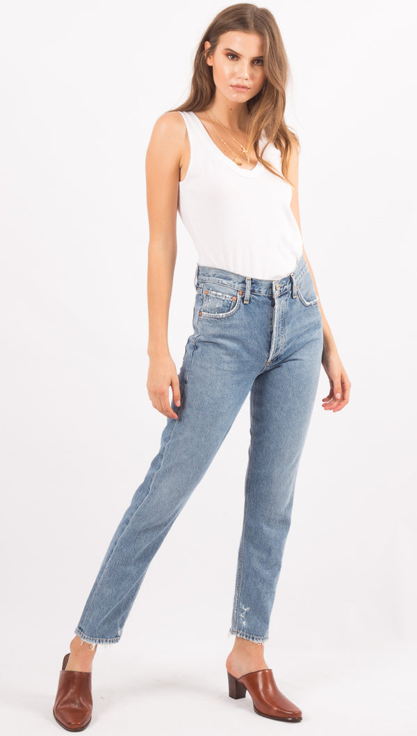 AGOLDE Light Wash High Waist Denim Jeans