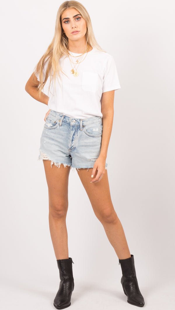 Agolde Light Blue Wash Cut Off Shorts